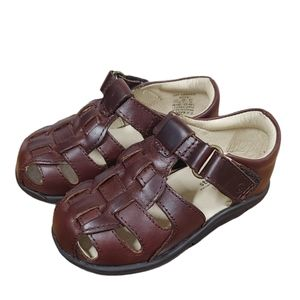 Stride Rite Harper Brown Leather Sandal 7.5 XXW
